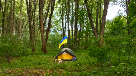 топор : 4K. Small tourist camp, tent with Ukrainian flag in wood.