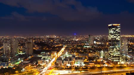 sunset city : Tel Aviv Skyline From Day to Night - Time Lapse Stock Footage