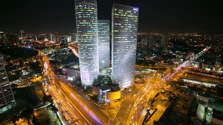 ночная жизнь : Tel aviv Skyline Time Lapse - Night City Aerial View