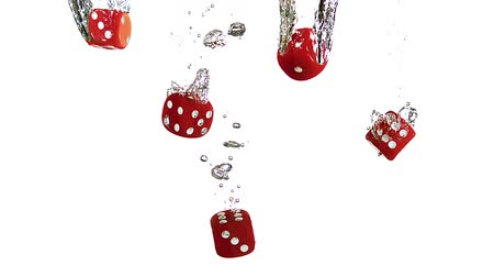 unlucky : Red Dice Falling into Water against White background, slow motion