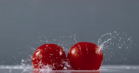 rajčata : Tomatoes, solanum lycopersicum, Fruits Falling on Water, Slow Motion 4K Dostupné videozáznamy