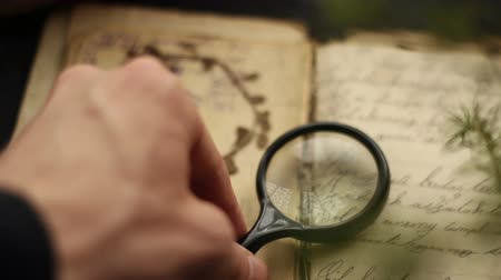 Magnifying glass and vintage book. Стоковые видеозаписи
