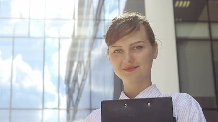 Portrait of Successful Business Woman at Work Стоковые видеозаписи