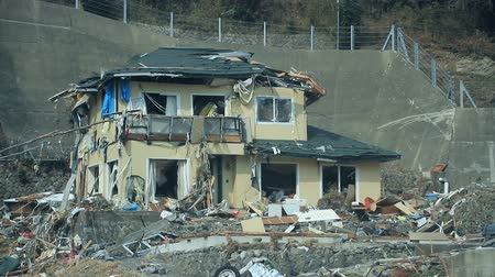 arıza : Fukushima Japan, city destroyed by tsunami Stok Video
