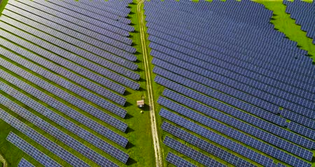 fuel and power generation : Solar panels in aerial view