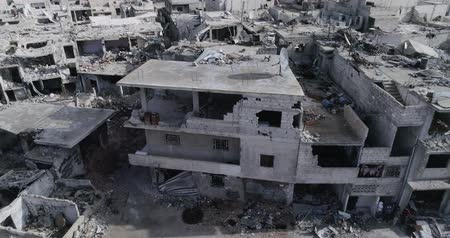 varoşlarda : Damascus suburbs destroyed in aerial view, Syria