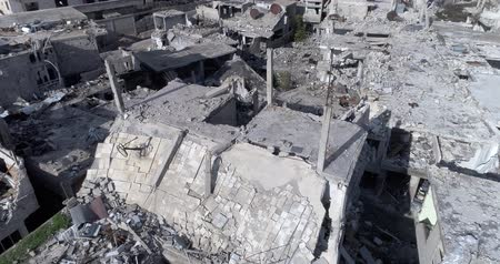 Damascus suburbs destroyed in aerial view, Syria