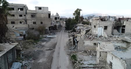 střela : Damascus suburbs destroyed in aerial view, Syria