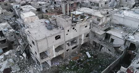 apokalypse : Damascus suburbs destroyed in aerial view, Syria