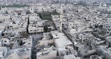 destroyed building : Damascus suburbs destroyed in aerial view, Syria