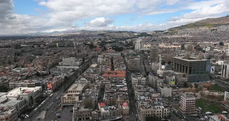 damasco : the city of damascus in aerial view, Syria