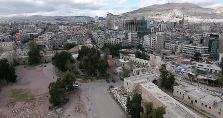 guerra : the city of damascus in aerial view, Syria