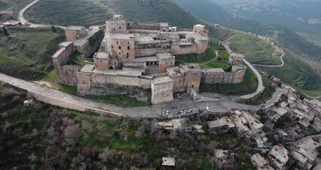 architectural heritage : Krak of the knight in aerial view, syria