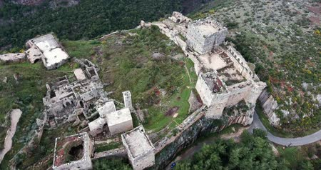 syrian : Citadel Latakia in aerial view, Syria Stock Footage
