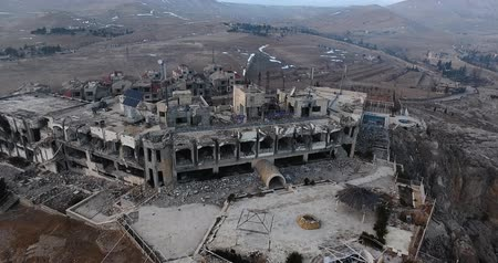 damasco : Catholic village in the mountains in aerial view, syria 2017