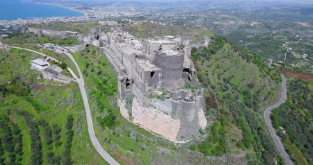 rock wall : Baniyas castle in aerial view, Syria