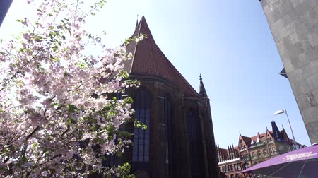 Джордж : Market Church of Sts. George and James, Hannover, Germany, April 17 2018: Old Town Market Lutheran Church or Marktkirche, roof building facade outdoor view. Warm sunny spring day, sakura cherry blossom Стоковые видеозаписи