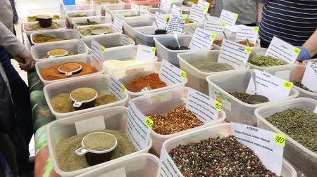 kari : Spices and herbs spice at market. Different kind of papper.