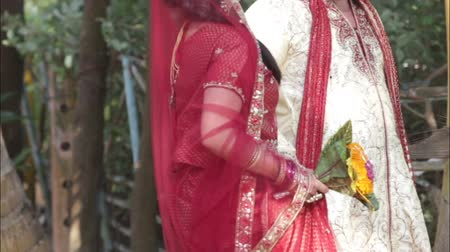 asian and indian ethnicities : Indian bride and groom walking