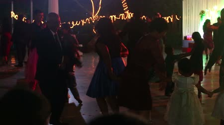 casamento : PORVORIM, GOAINDIA - FEBRUARY 01 2014: indian people dance at the catholic wedding party on February 1 in Porvorim Stock Footage