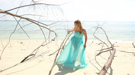 transparente : asian blonde girl in transparent blue dress poses on beach among dry trees at background of azure sea