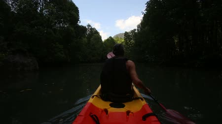 сильный : strong elder man rows kayak with paddles along river among mangrove trees Стоковые видеозаписи