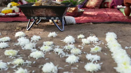 asian and indian ethnicities : white flower path in front of indian bridal altar Stock Footage