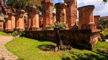башни : panorama of colonnade of old pillars at ruins of Vietnamese culture centre Thp B Ponagar