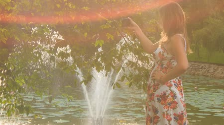 zadnice : at backlight backside view blond girl in colorful frock takes photo of fountain in pond behind tree in park Dostupné videozáznamy