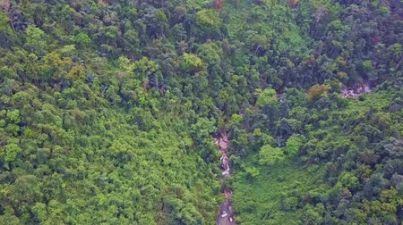 bao : drone flies over narrow rocky stream flowing between huge mountains covered with deep wild jungle