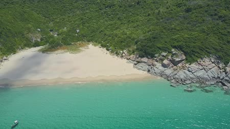 sand lia : Aerial view small white sand beach on a green hill ocean