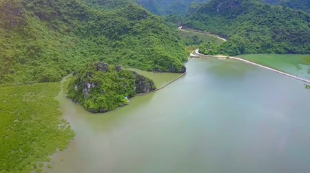 halong : flycam approaches small cliff overgrown with plants and located in calm sea