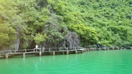 halong : drone rotates around young girl standing on bridge near high cliff with caves and covered tropical plants