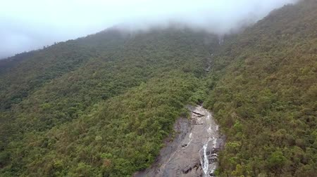 national park : amazing aerial view fast mountain canyon part along tropical woods and deep fog on hills