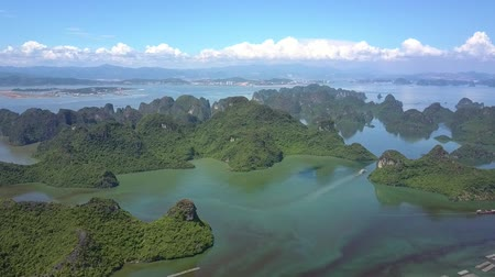 halong : flycam shows pictorial boundless ocean bay with large and small islands