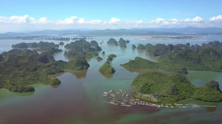 halong : high upper panorama numerous floating clouds near blue sky