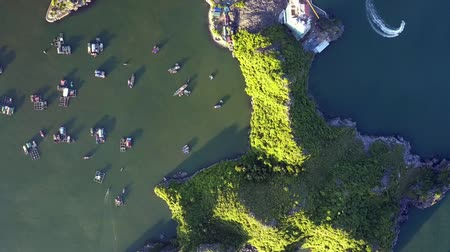 halong : aerial view green hilly island in ocean bay with floating house fishing boats and speeding with foamy trace motorboat
