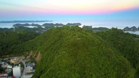 halong : flycam moves to large old mountain covered with deep woods and city at foot against ocean sunset Stock Footage