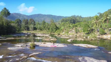 cercar : mountain river runs among stones in tropics Stock Footage