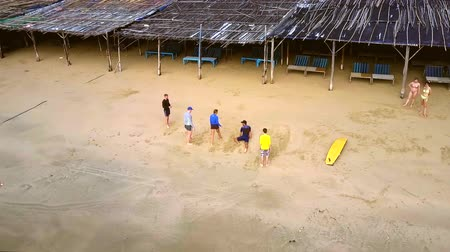 markiza : coach shows exercises on sand beach at surfing lesson Wideo