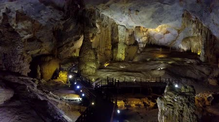 gruta : inside Paradise Cave panoramic view from entrance Stock Footage