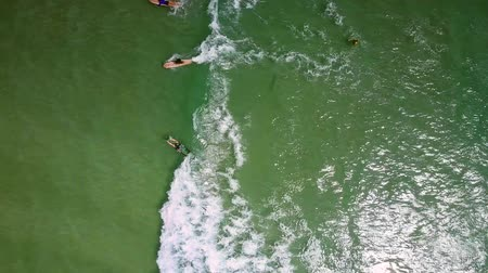 лазурный : high upper view surfers swim on foamy waves