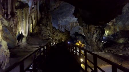 dojem : motion along staircase to huge karst cavern depth