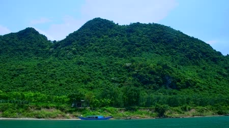 boat tour : floating past forestry hills on river bank under blue sky
