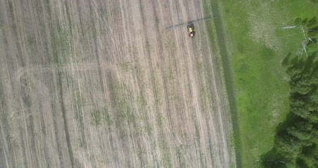 recentemente : bird eye flight tractor drives on harvested field along forest