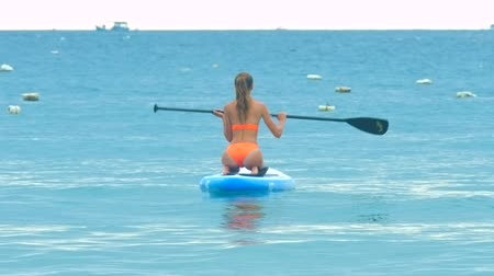 surfer paradise : back view woman paddles board among buoys Stock Footage