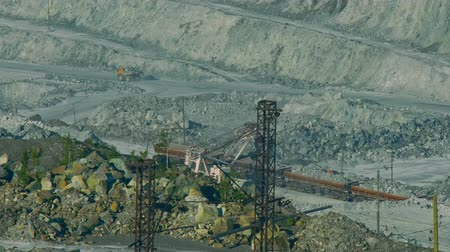 azbest : aerial view asbestos open cast quarry and high voltage line Wideo