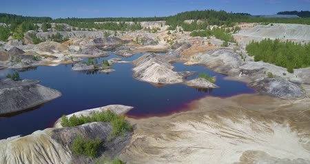 obnovit : upper view restored ecosystem at lake in abandoned clay pit