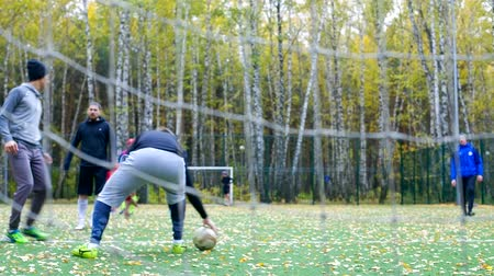 вратарь : goalkeeper bounces ball view through gate net in autumn park