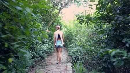 brim : backside view girl with long plait in blouse and denim shorts walks along abandoned stone path through thickets Stock Footage
